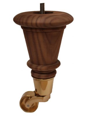 Lana Raw Walnut Furniture Legs with Brass Castor