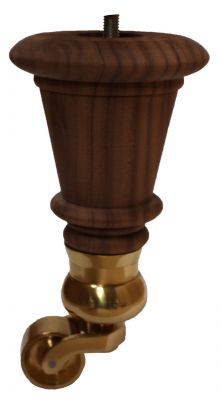 Ariel Solid Walnut Furniture Leg with Brass Cauldron Castor