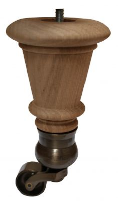 Vivien Solid Oak Furniture Leg with Antique Cauldron Castor